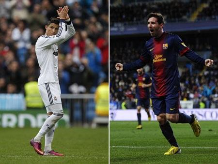 Trong cùng một khoảng thời gian, số lượng bàn thắng của C.Ronaldo và Messi gần như tương đương