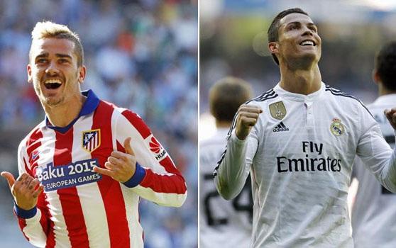 Griezmann và C.Ronaldo là hai niềm hi vọng lớn nhất trên hàng công Atletico và Real