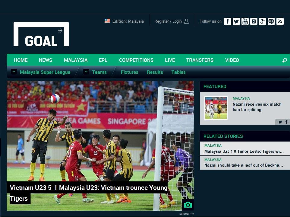 Tờ Goal phiên bản Malaysia đánh giá cao khả năng lên bóng tốc độ của U23 Việt Nam