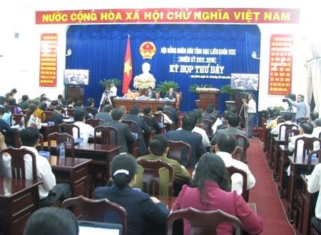 Nghị trường kỳ họp thứ 7 HĐND tỉnh Bạc Liêu nóng với các phiên chất vấn. (Ảnh: Huỳnh Hải)