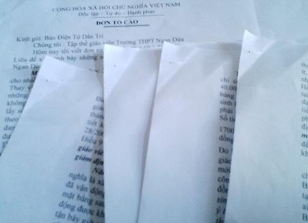 Đơn tố cáo Hiệu trưởng Trường THPT Ngan Dừa của nhiều giáo viên gửi báo