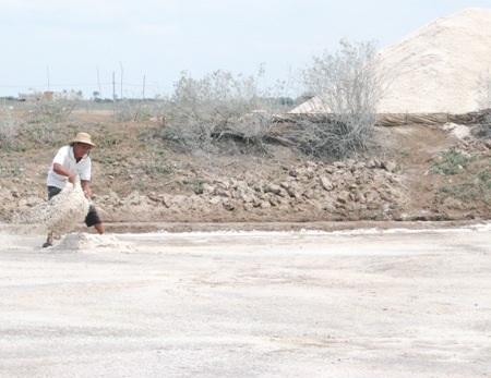 Người nông dân này đang chuẩn bị cho một đợt thu hoạch muối mới.