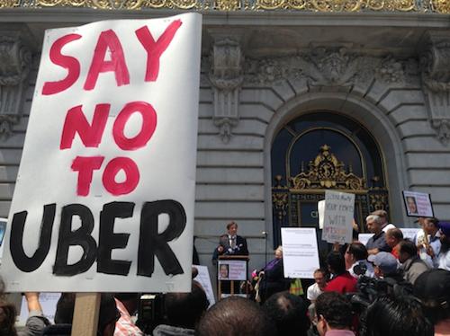 Biểu tình phản đối Uber ở New Orleans (Mỹ).