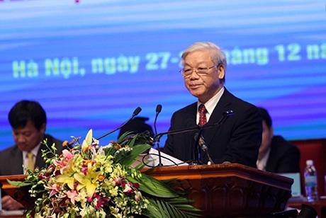 Tổng Bí thưNguyễn Phú Trọng phát biểu tại Đại hội Hội LHTN Việt Nam khóa 7
