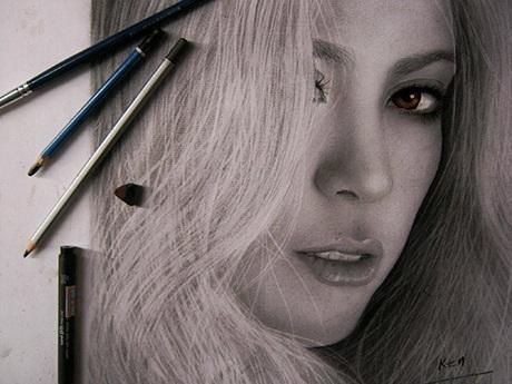 Tranh vẽ nữ ca sĩ nổi tiếng Shakira
