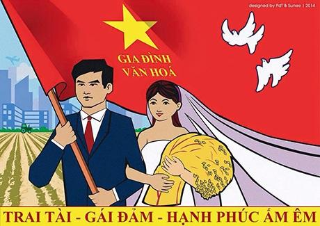 Thiệp cưới theo phong cách tranh cổ động độc đáo của cặp đôi Đức Thanh - Hồng Ngọc
