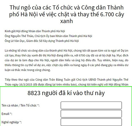 Bức thư điện tử đề nghị dừng chặt cây xanh có 8.800 chữ ký