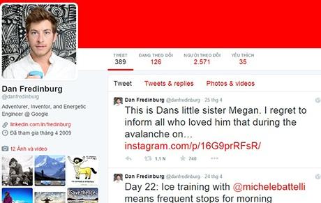 Em gái Frendiburg xác nhận sự ra đi của anh trên trang Twitter