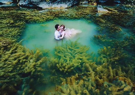 Cặp đôi không ngại xuống nước để có được những bức ảnh đẹp như trong mộng