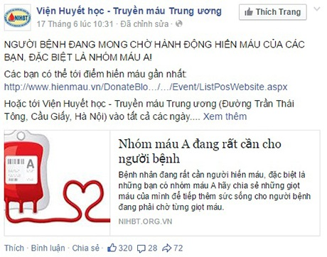 Thông tin về tình hình khan hiếm máu trên Facebook của Việc Huyết học