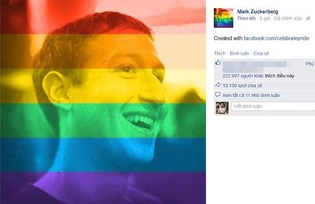 Ông chủ facebook Mark Zuckerberg ủng hộ hôn nhân đồng giới
