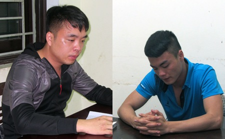 Hai đối tượng Hoàng Văn Mạnh (bên trái) và Trần Quốc Đạt tại cơ quan điều tra.