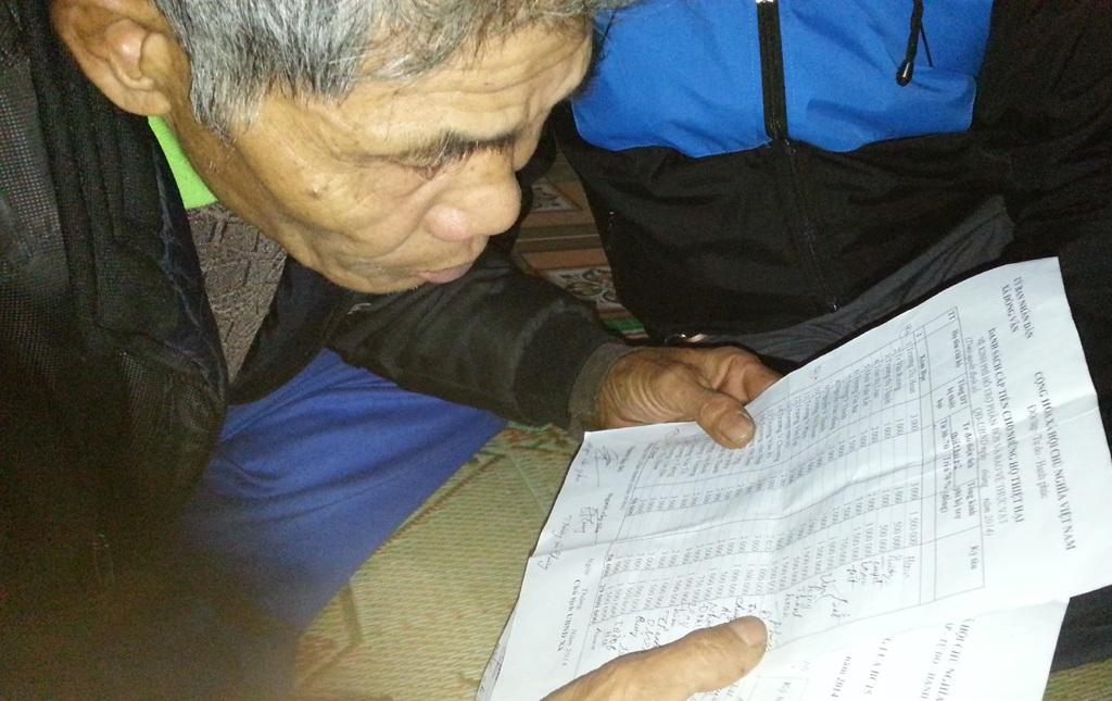 Bà vợ ông Kết khẳng định chưa hề biết danh sách ký nhận tiền như thế này bao giờ.