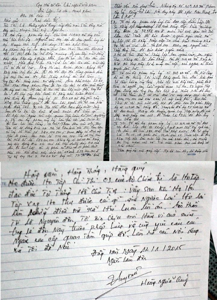 Đơn thư ông Hoàng Nghĩa Quý gửi PV tố lãnh đạo xã lập hồ sơ khống, ăn chặn tiền hỗ trợ của dân.