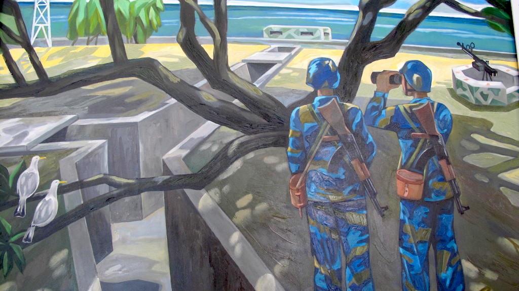 Trường Sa tuyến đầu Tổ quốc (Ảnh sơn dầu của Hồ Minh Quân - TP. Hồ Chí Minh)