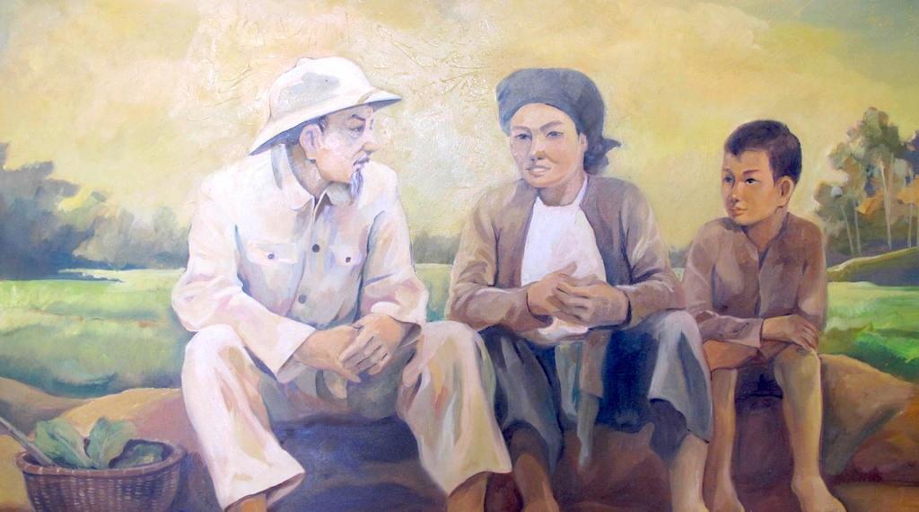 Bác Bồ với nông dân (Ảnh chất liệu sơn dầu).