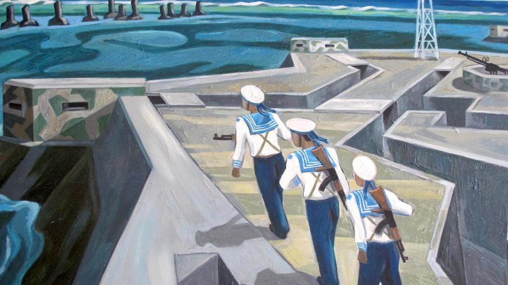 Tổ quốc nơi đầu sóng (Ảnh chất liệu sơn dầu).