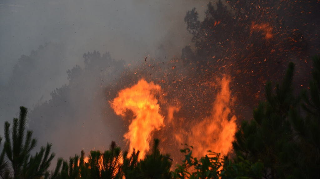 Do trời vào buổi chiều gió to nên ngọn lửa cháy càng lớn hơn.