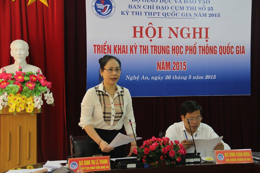 Bà Đinh Thị Lệ Thanh - Phó Chủ tịch UBND tỉnh Nghệ An chủ trì hội nghị.