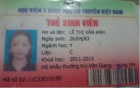 Bà Vân Anh trong ảnh của thẻ sinh viên bị tố lừa tiền của người lao động.