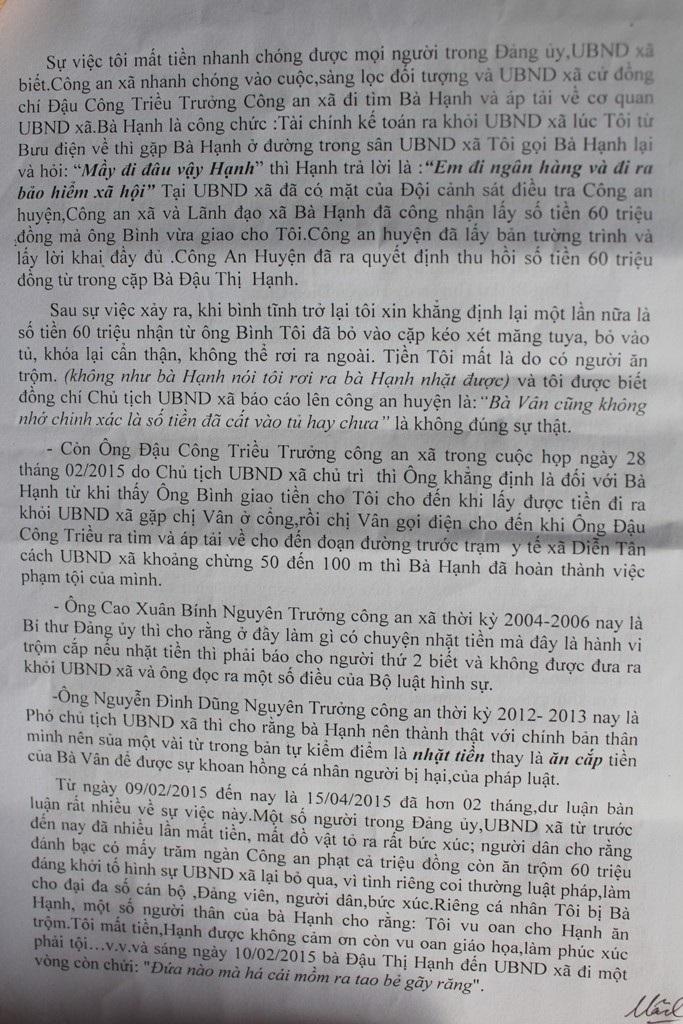 Đơn tố cáo của bà Nguyễn Thị Vân gửi các cơ quan chức năng.
