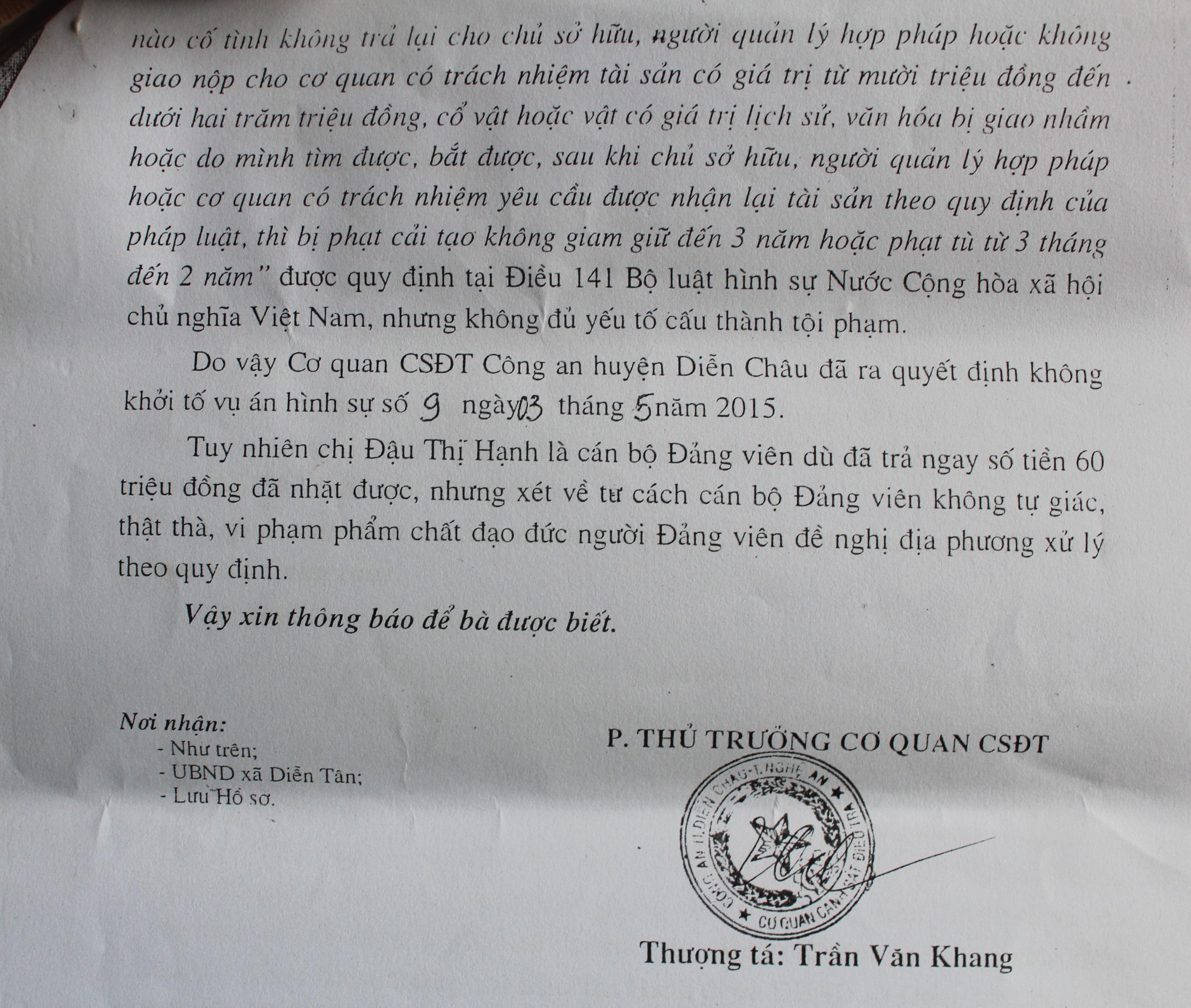 Kết luận của Công an huyện Diễn Châu về sự việc.