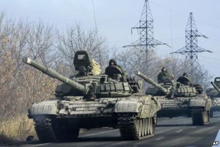 Xe tăng của lực lượng ly khai tại Đông Ukraine