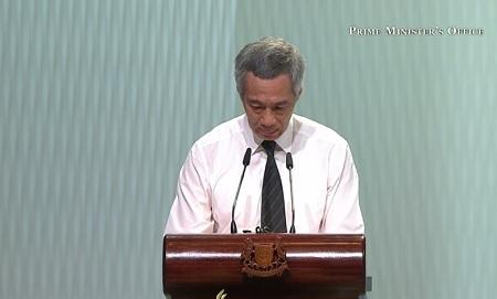 Thủ tướng Singapore Lý Hiển Long xúc động khi phát biểu tại lễ tang cha (Ảnh: Strait Times)