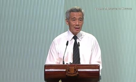 Thủ tướng Singapore, Lý Hiển Long, con cả của ông Lý Quang Diệu phát biểu tại lễ tang