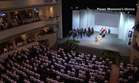 Đội danh dự đưa linh cữu ông Lý vào hội trường