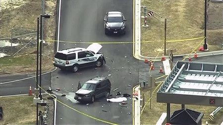 Hình ảnh hiện trường vụ xâm nhập và nổ súng tại đường vào trụ sở NSA (Ảnh: