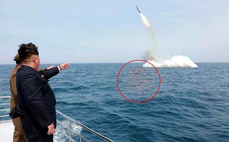Hình ảnh Triều Tiên thử tên lửa từ tàu ngầm được KCNA công bố (Ảnh: KCNA)
