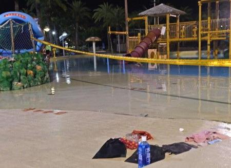 Hình ảnh khu vực bể bơisauđámcháy. (Ảnh: