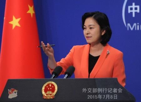Bà Hoa Xuân Doanh, người phát ngôn Bộ ngoại giao Trung Quốc (Ảnh: CNS)