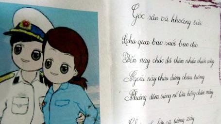 Một bài thơ chép tay từ đất liền gửi tặng chiến sỹ đảo Đá Nam.