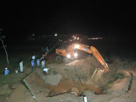 Vị trí vỡ lần thứ 5 của tuyến đường ống nước sạch sông Đà (ngày 1/4/2014)