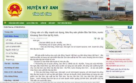 """Hà Tĩnh: Chủ tịch huyện """"ra lệnh"""" đẩy mạnh…uống bia (chờ duyệt)"""