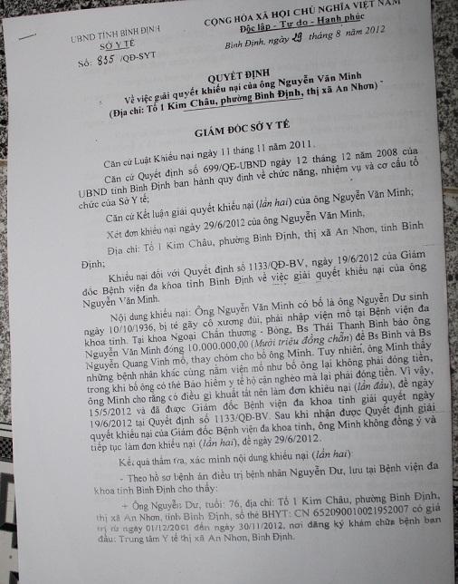 Quyết định của Sở y tế Bình Định buộc BS Bình phải trả lợi 10 triệu cho bệnh nhân Dư vì thu hộ