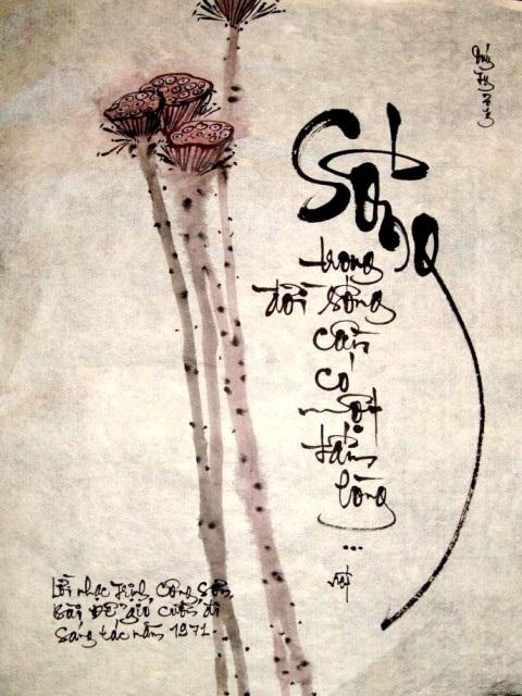 """Bức thư pháp lấy cảm hứng từ bài hát """"Để gió cuốn đi"""" của Trịnh Công Sơn (thư pháp Minh Hoàng)"""