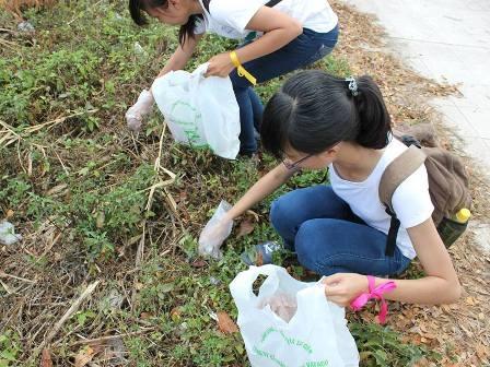 Các bạn tình nguyện viên còn tỏa ra các khu vực xung quanh để thu gom rác
