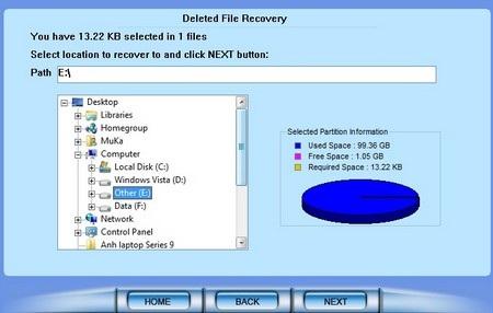 Sau khi chọn phân vùng, nhấn Next để quá trình quét và tìm kiếm file bị xóa diễn ra.