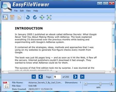 EasyFileViewer cho phép mở nhiều định dạng file khác nhau chỉ bằng một phần mềm