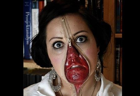 Gương mặt đáng sợ với khóa kéo