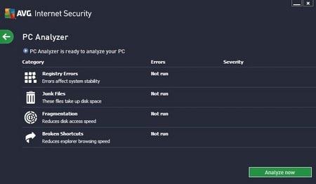 Giao diện các chức năng tối ưu hệ thống của AVG Internet Security 2013