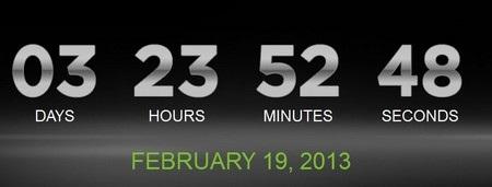 Đồng hồ đếm ngược trên trang chủ của HTC