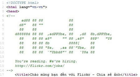Thông điệp tuyển dụng được ẩn chứa ngay bên trong mã nguồn của trang web Flickr