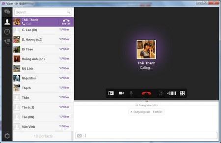 Phần mềm Viber trên Windows sau khi đã đồng bộ hóa danh bạ