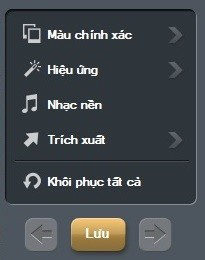 Danh sách các công cụ để thêm hiệu ứng cho file video được nằm ở menu bên góc phải, bao gồm: