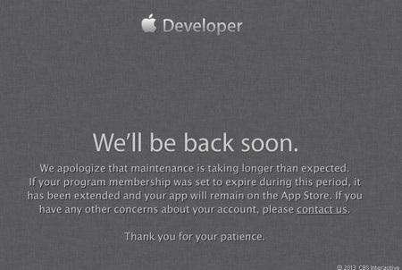 Thông báo lỗi hiện ra khi trang web dành cho các nhà phát triển của Apple không thể truy cập được