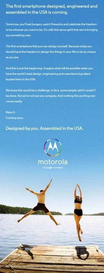 Hình ảnh quảng cáo của Motorola X được Google đăng tải